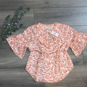 New Coral and White LOFT Flutter Sleeve Blouse